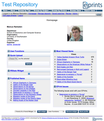 This image shows a screenshot of an example MePrints User Homepage.