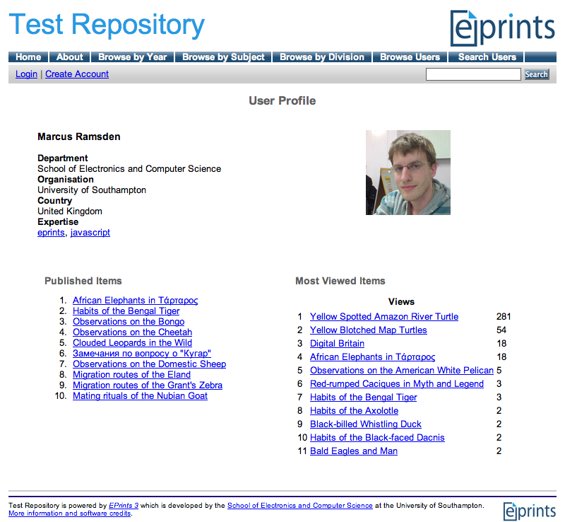 This image shows an example MePrints User Profile.