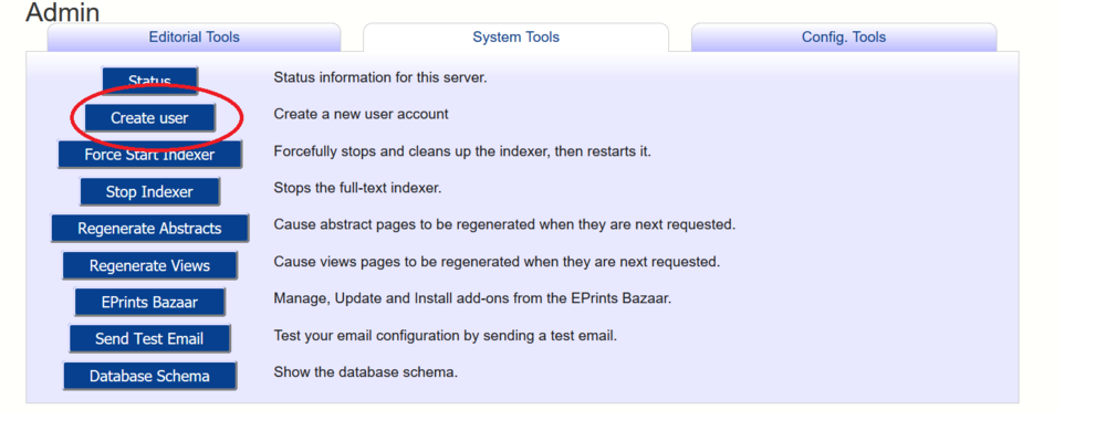Admin page, System Tools tab